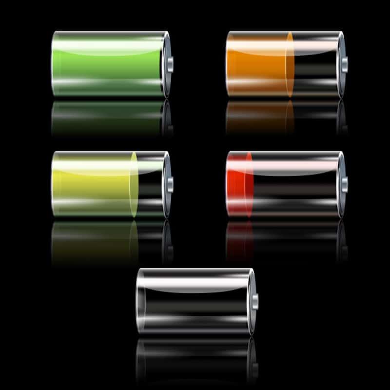 varios niveles del porcentaje de la bateria en iphone