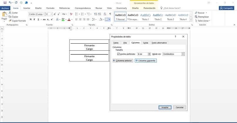 documento word propiedades de tabla