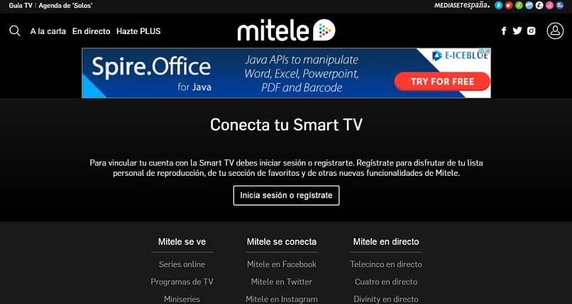 imagen donde se puede registrar el usuario en mitele