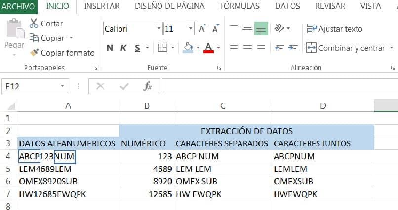 vista de resultados de extraccion de datos en excel