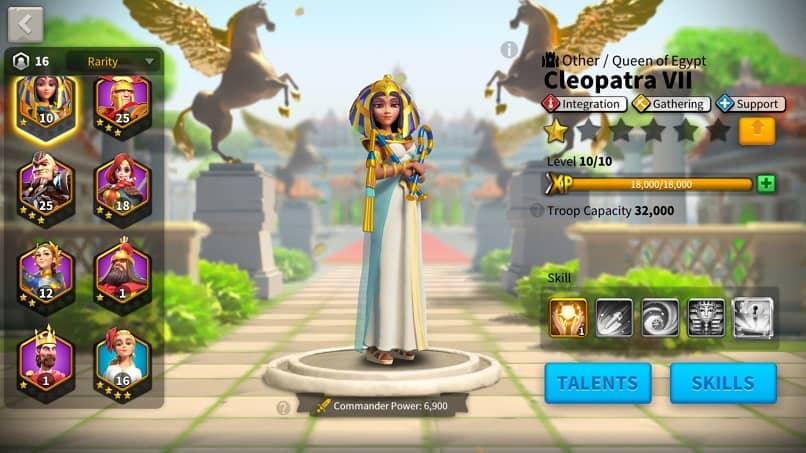 rise of kingdoms comandante cleopatra