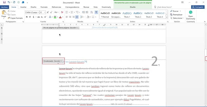 encabezado de pagina en documento word