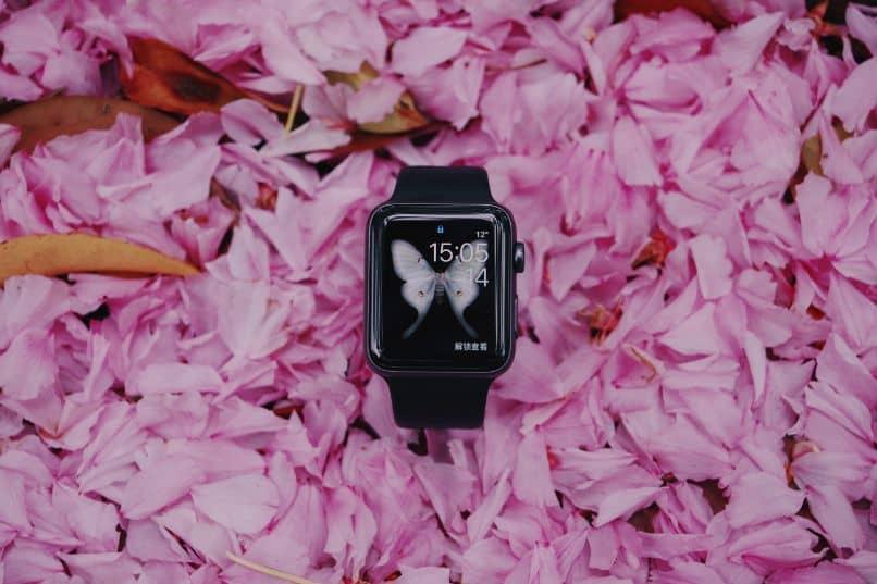 smartwatch con mariposa en flores rosadas