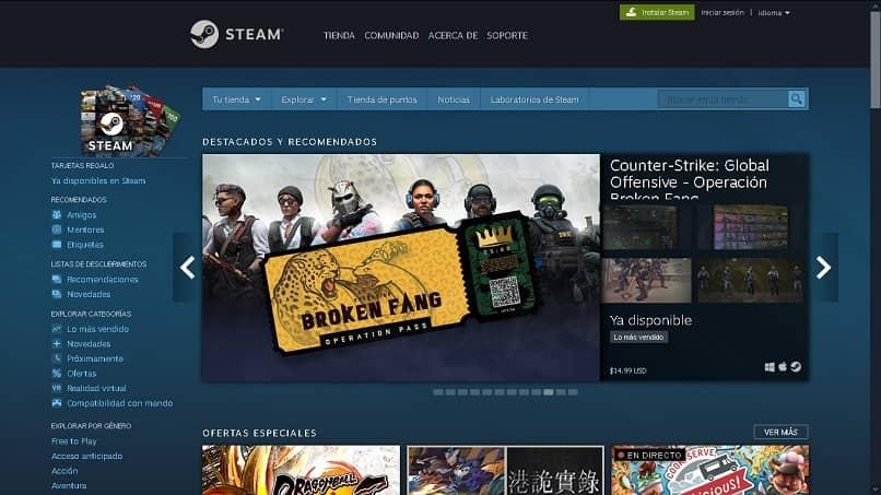 pagina web oficial de steam