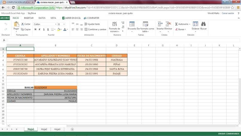 una tabla de datos de excel para consultar