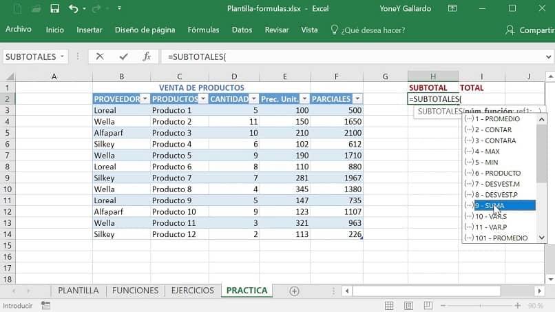 tabla que refleja la funcion de subtotal