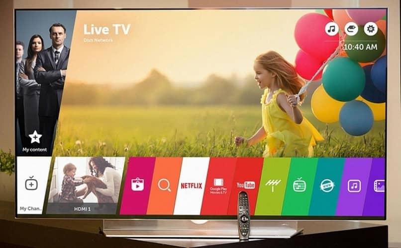 el menu principal del smart tv con aplicaciones