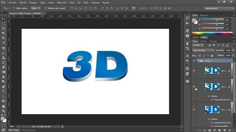 texto azul en 3d con photoshop