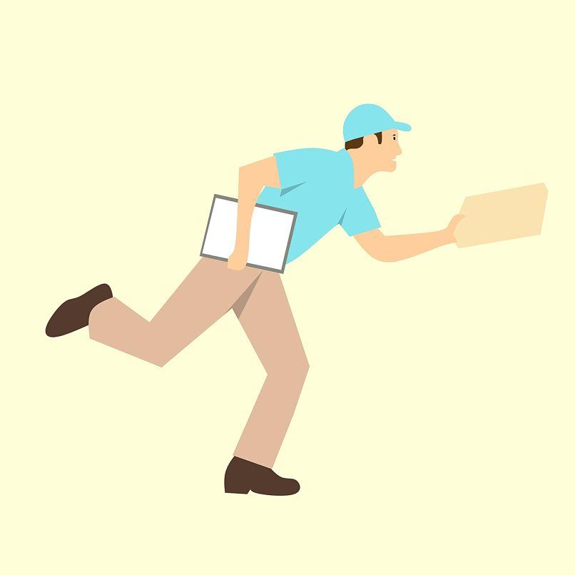 trabajador con una entrega