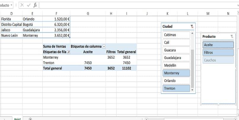 varios filtros en varias tablas dinamicas en excel
