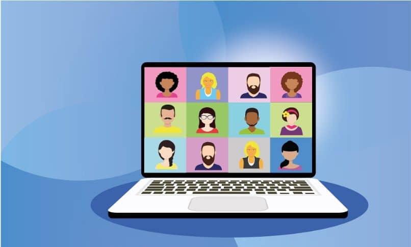dibujo de laptop en videollamada con fondo azul