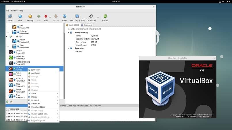 configuracion parametros virtualbox emulador