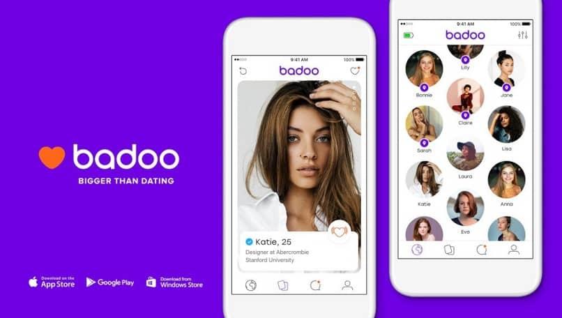 logo de badoo y telefono con foto de una chica