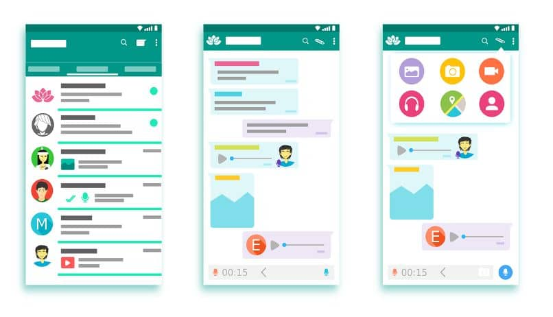 interfaz de whatsapp con chats