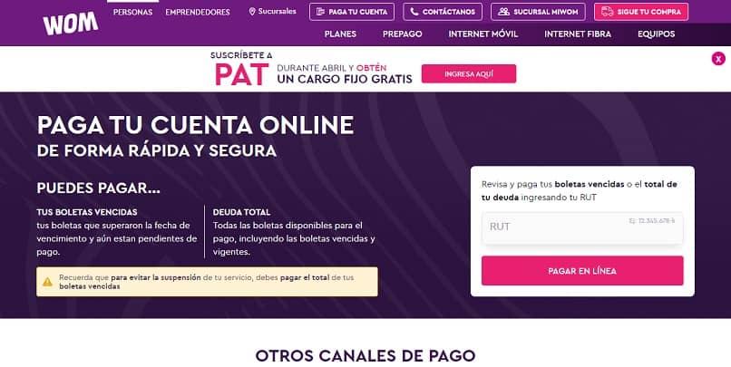 pagina web pagar online wom