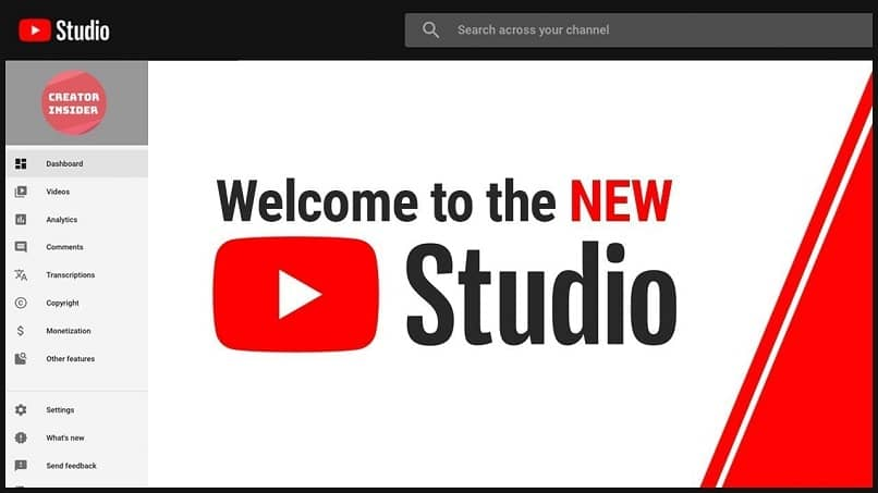 youtube studio pantalla inicio